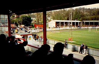 Hastings United F.C. - View of the Pilot Field from the main stand, when the club were known as Hastings Town
