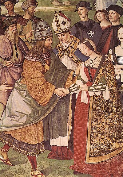 Detail of Aeneas Piccolomini introduces Eleonora of Portugal to Frederick III by Pinturicchio (1454-1513) Pintoricchio 002a.jpg