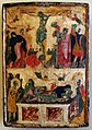 Pittore veneto-cretese, icona con crocifissione e deposizione, xiii-xiv secolo.jpg