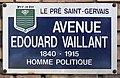 Plaque Avenue Édouard Vaillant - Le Pré-Saint-Gervais (FR93) - 2021-04-27 - 1.jpg