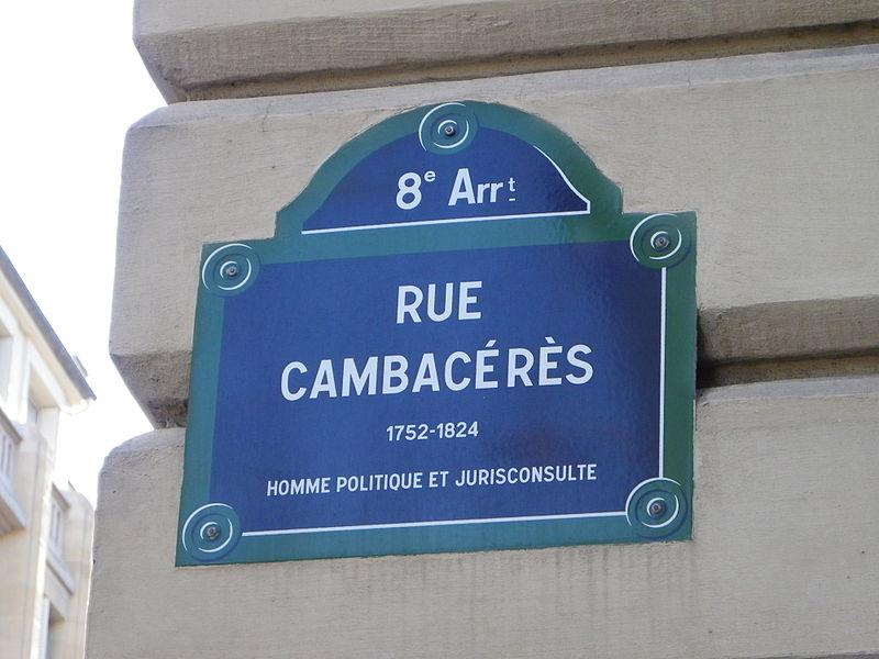 Fichier:Plaque rue Cambacérès à Paris.JPG