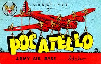 Pocatello Regional Airport - World War II postcard of Pocatello Army Airfield