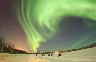 Some Inuit (including Alaska Natives) believed that the spirits of their ancestors could be seen in the aurora borealis Polarlicht.jpg