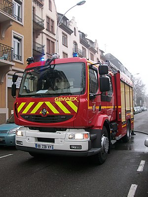 Fire services in France - French fire engine.