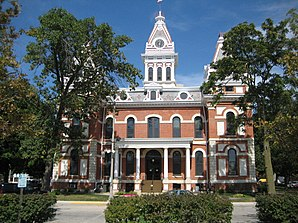 Das Livingston County Courthouse in Pontiac, gelistet im NRHP Nr. 86003165[1]