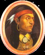 Retrato del Jefe Pontiac, pintado por John Mix Stanley cerca de 100 años después de su muerte.