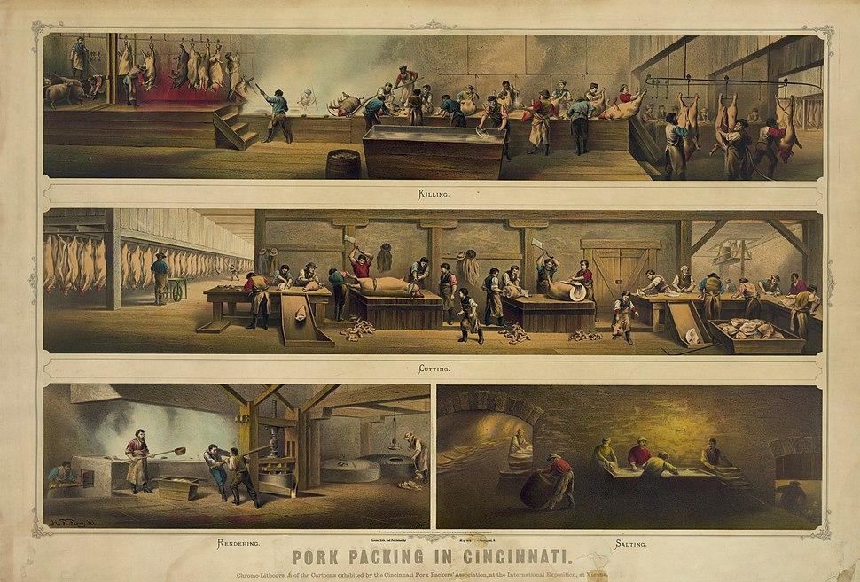 Pork packing in Cincinnati 1873