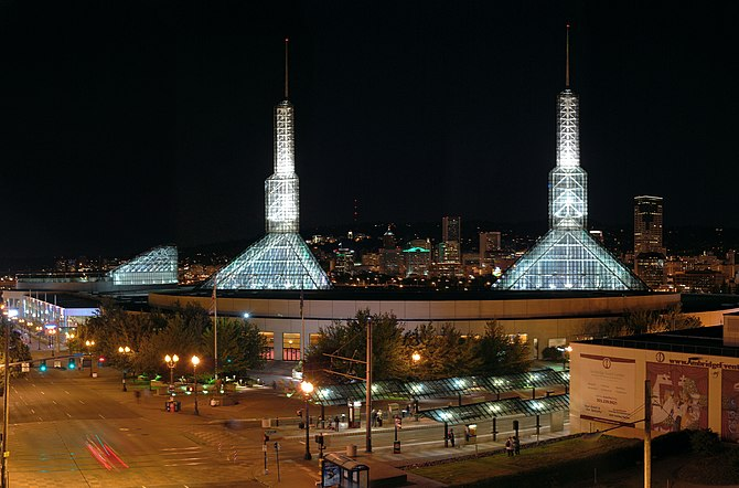 The Oregon Convention Center in Portland, Oregon, USA.