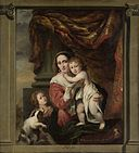 Portrait of Johanna de Geer with Her Two Children Cecilia and Laurens Trip as Caritas by Ferdinand Bol.jpg