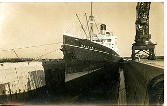 King George V Graving Dock - RMS Majestic in King George V dry dock