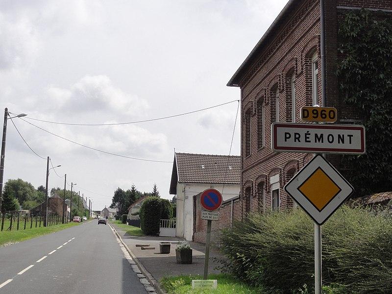Prémont (Aisne) city limit sign