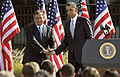 President Barack Obama, right, shakes hands with Secretary of Defense Leon E. Panetta after Panetta's speech during a remembrance ceremony at the Pentagon Memorial Sept 120911-D-NI589-645.jpg