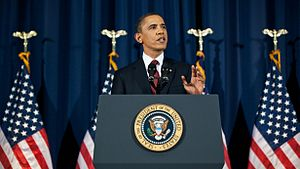 English: President Barack Obama speaks from th...