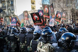 Execution of Nimr al-Nimr - Protest in Tehran in front of the Saudi embassy.