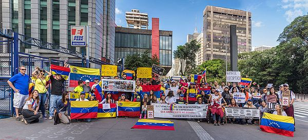 Protests opposing Bolivarian Revolution in São Paulo, Brazil