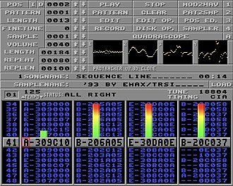 Music tracker - Screenshot of the multi-platform Protracker clone program