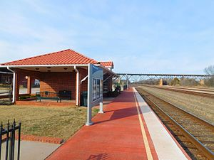 Purcell station - The station at Purcell in February 2017. The James C. Nance Memorial Bridge (U.S. Route77 / State Highway39) over the Canadian River is in the distance.