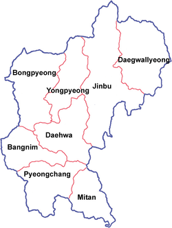 Map of the County of Pyeongchang