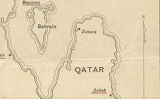 Zubarah - A map produced in 1920 to illustrate the dispute over the sovereignty of Zubarah.