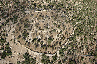 Kingdom of Israel (united monarchy) - Aerial view of Khirbet Qeiyafa.