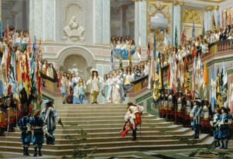 Fronde - Reception of the Grand Condé at Versailles following his victory at Seneffe. The Grand Condé advances towards Louis XIV in a respectful manner with laurel wreaths on his path, while captured enemy flags are displayed on both sides of the stairs. It marked the end of Condé's exile, following his participation to the Fronde.
