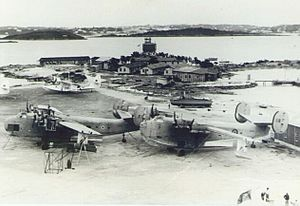 RAF Ferry Command - RAF Darrell's Island during World War II. This base was used throughout the war for trans-Atlantic ferrying of aircraft such as the Catalinas to the rear of photo. Transport flights (such as those flown by the Coronados in the foreground) moved, in 1943, to the British section of the airfield built by the US Army Air Forces, Kindley Field.