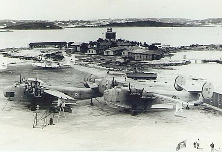 RAF Darrell's Island during World War II. This base was used throughout the war for trans-Atlantic ferrying of aircraft. RAF Darell's Island.jpg