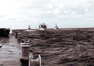 RFA Olna (A123) - Olna replenishing frigates as part of the Bristol Group en route to the Falklands War in 1982