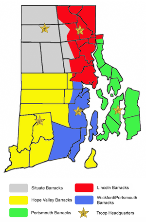 Rhode Island State Police - Image: RI State Police Troop Map