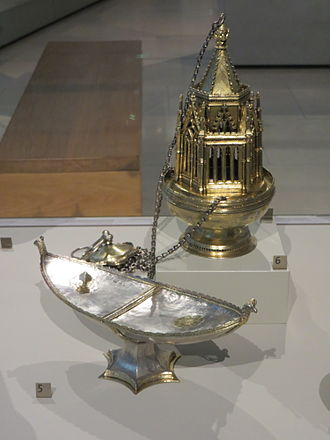 Whittlesey Mere - The Ramsey Abbey censer and incense boat in the V&A Museum; they were found when the mere was drained