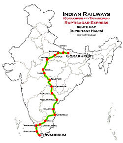 Raptisagar Express (Gorakhpur - Trivandrum) Route map.jpg