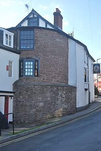 Monmouth town walls and defences - Remnant of Dixton Gate tower, also a portion of the Monmouth town walls and defences