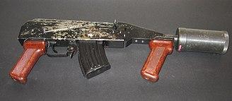 CS gas - RWGŁ-3 Polish tear gas grenade launcher.