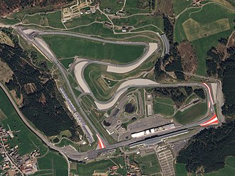 Red Bull Ring - Satellite view of the Red Bull Ring in 2018