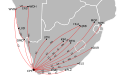 Regional flights from Cape Town International Airport, with IATA codes.svg