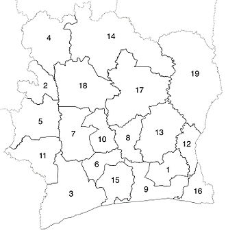 Regions of Ivory Coast - Image: Regions of Côte d'Ivoire numbered 2000 11