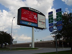 NRG Park - Photograph of a sign using previous name at the entrance to the NRG Park Complex