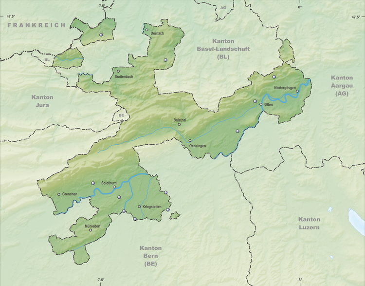 Reliefkarte Solothurner Seen