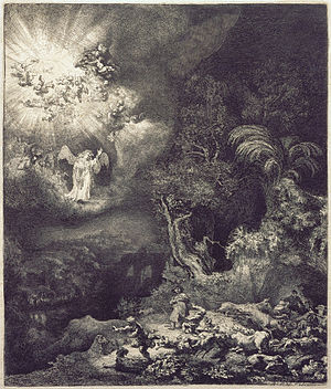 Annunciation to the shepherds - Rembrandt The Angel Appearing to the Shepherds, 1634