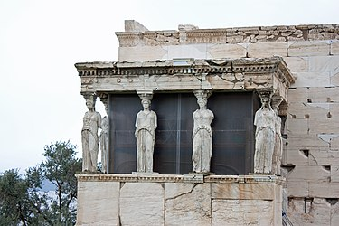 Replicas of the Caryatids at the Erectheum 2010.jpg