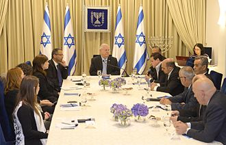 Joint List - The Joint List at the consultations process at President Reuven Rivlin's official resident, after the 2015 elections