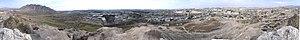 Rey, Iran - View from Rashkan hill to Ray and Bibi-shahr-bano mountain