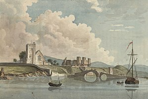 Rhuddlan - Rhuddlan church and castle, c.1781
