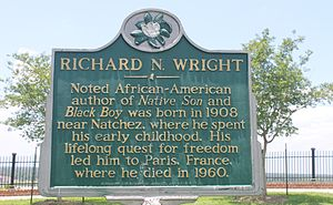 Richard Wright (author) - A historic marker in Natchez, Mississippi, commemorating Richard Wright, who was born near the city