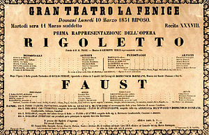 Rigoletto - La Fenice's poster for the world premiere of Rigoletto