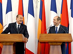 Robert Kocharyan and Jacques Chirac in Yerevan, 2006