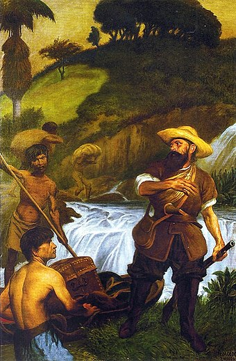 Bandeirantes were crucial in Portuguese exploration, colonization, and pacification of the Brazilian interior. Rodolfo Amoedo - Bandeirante.jpg