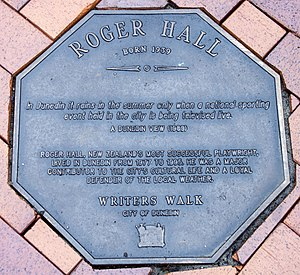 Roger Hall (playwright) - Image: Roger Hall memorial plaque in Dunedin