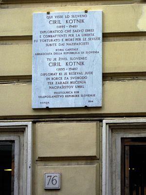 Ciril Kotnik - Plaque in Rome