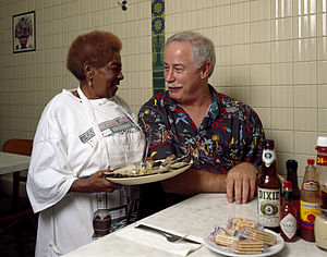 Ronnie Virgets - Virgets (right) at Casamento's Restaurant in Uptown New Orleans; photo by Carol M. Highsmith.